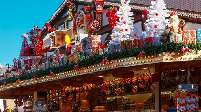 A stall selling sweet treats and souvenirs in Strasbourg