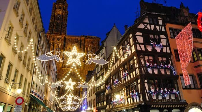 Strasbourg illuminated by Christmas lights