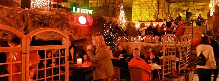 The festive café at the Velvet Cave market in the Netherlands.
