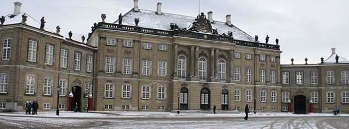 Amalienborg Palace is a pretty picture in winter.