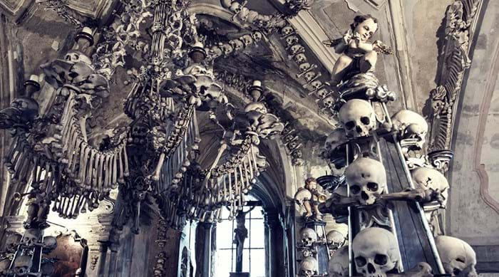 Marvel at the hauntingly beautiful interior design of the Sedlec Ossuary
