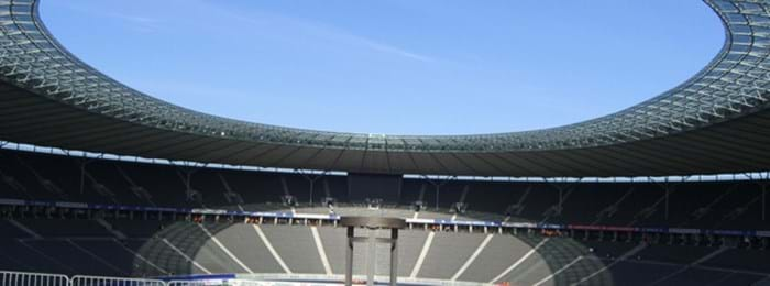 The futuristic roof of Berlin's Olympiastadion