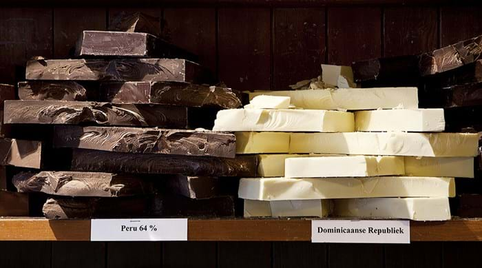 Blocks of chocolate at one of Bruges' most famous chocolatiers, The Chocolate Line