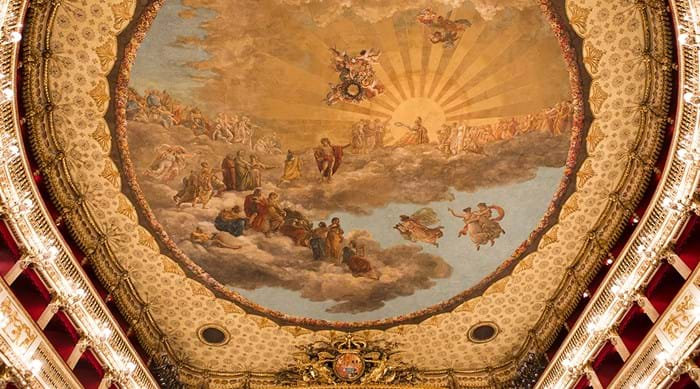The ceiling of the Teatro di San Carlo was painted Antonio, Giuseppe and Giovanni Cammarano.