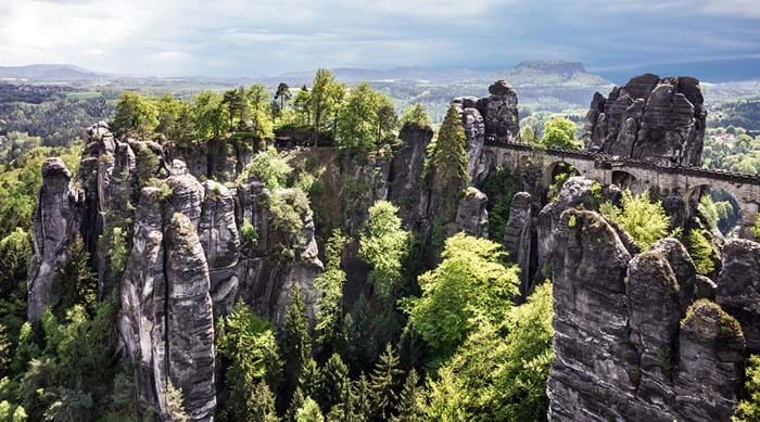 The stunning Bastei Bridges towers 194 metres above the Elbe River.