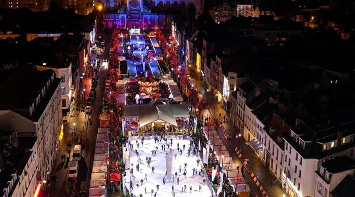 Brussels market square and ice rink.