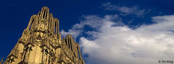 The magnificent Notre Dame cathedral in Reims, France
