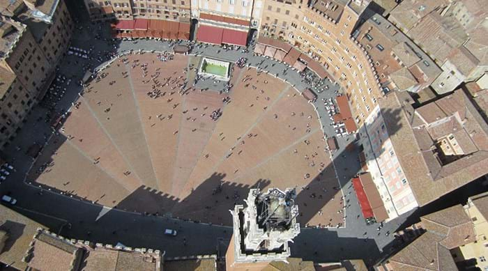 The square where the Palio di Siena horse race is held