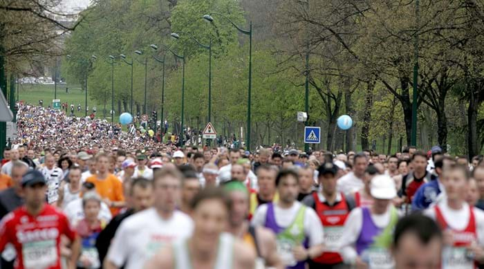 The Paris Marathon is held annually on a Sunday in April.