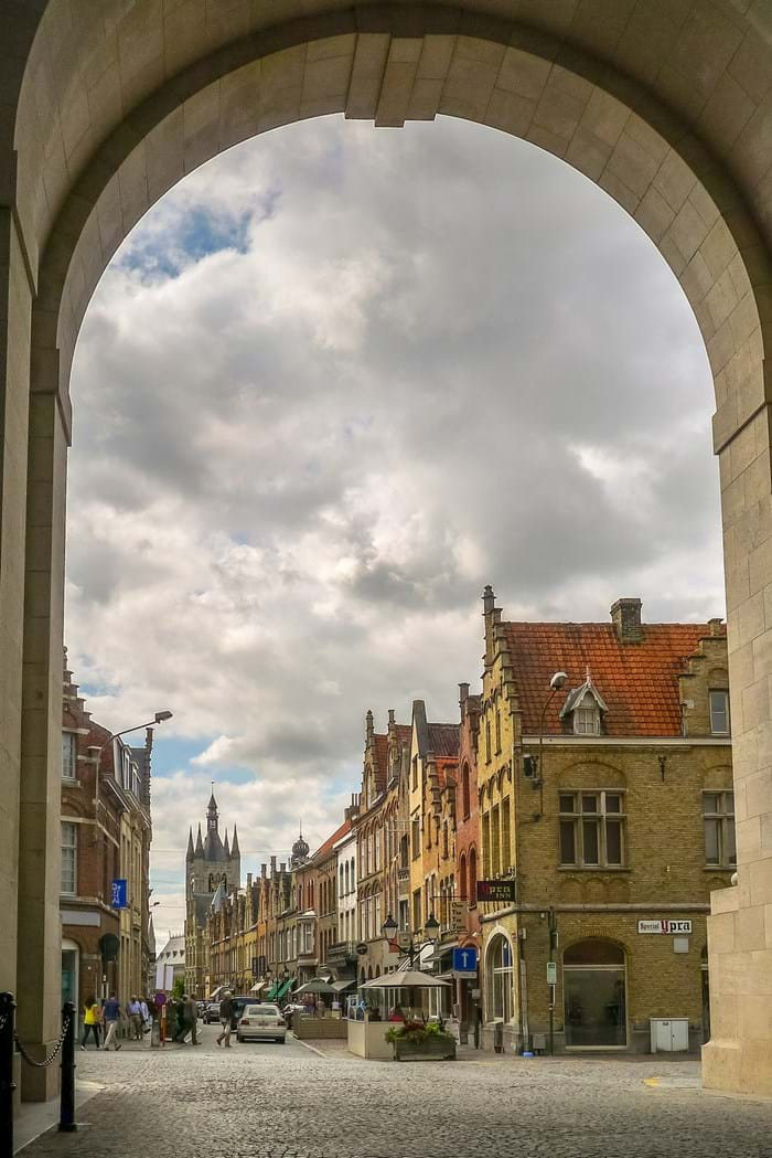 Looking out onto the town of Ypres from inside Menin Gate.
