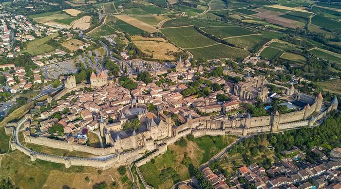 An aerial view of Carcassonne and its strategic hilltop position