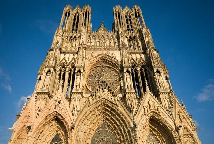 Gaze in wonder at the awe-inspiring Cathédrale Notre Dame in Reims.