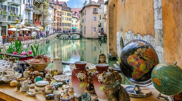 The antique market in Annecy's Vieille Ville (Old Town).