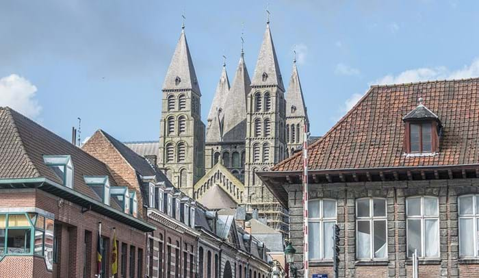 Tournai Cathedral is an extravagant building that stands intimidatingly over the surrounding streets.