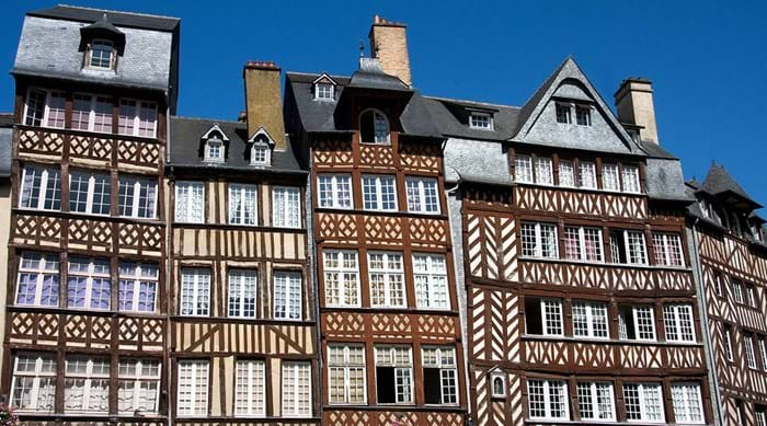 The half-timbered houses that line the streets in Rennes' old town.